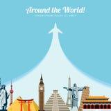 Wereldoriëntatiepunten Reis en toerismeachtergrond Vector illustratie Stock Foto's
