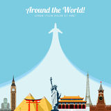 Wereldoriëntatiepunten Reis en toerismeachtergrond Vector illustratie Royalty-vrije Stock Fotografie