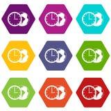 Wereldplaneet met de vastgestelde kleur van het horlogepictogram hexahedron Stock Foto's