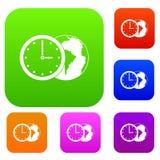 Wereldplaneet met inzameling van de horloge de vastgestelde kleur Royalty-vrije Stock Foto