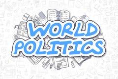 Wereldpolitiek - Krabbel Blauw Word Bedrijfs concept royalty-vrije illustratie