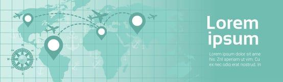 Wereldreis door de Vlieg van het de Bannervliegtuig van het Vliegtuigmalplaatje over Aardekaart met de Route van Navigatiewijzers vector illustratie
