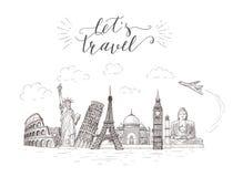 Wereldreis en gezichten Toerismebanner met hand-van letters voorziend citaat Royalty-vrije Stock Fotografie