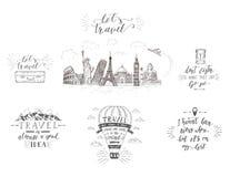 Wereldreis, gezichten en vervoer Reeks toerismebanners met hand-van letters voorziende citaten royalty-vrije illustratie