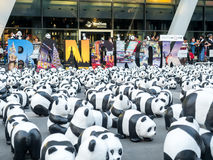 Wereldreis 1.600 panda's in Bangkok Stock Foto's