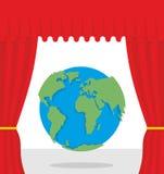 Wereldtoneel Het rode gordijn opent Aarde Theatrale presentatie langs Royalty-vrije Stock Foto's