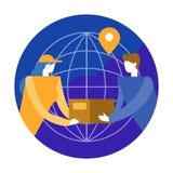 Wereldwijd het Verschepen en het concept van de ladingslevering vlak ontwerp eleme stock illustratie