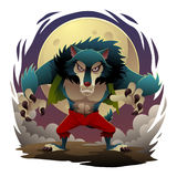 WereWolf. Ferocious werewolf standing with fullmoon background Royalty Free Stock Image