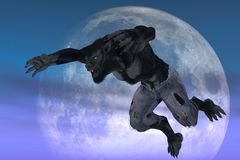 Werewolf against moon. Werewolf in ragged jeans in leaping pose against moon backdrop Stock Image