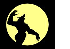 Werewolf. Attacking werewolf with red eyes. Full moon. Avatar Royalty Free Stock Images