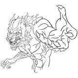 Werewolf bust line art Stock Images