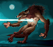 Werewolf is fighting with a lighting Stock Photography
