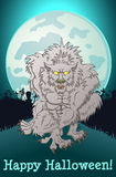 Werewolf on a full moon Stock Photography