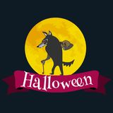 Werewolf on halloween with the full moon background, horror wolf at night vector invintation, autumn holliday Stock Image
