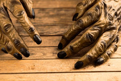 Werewolf hands on rustic wooden table. Werewolf or zombie hands for Halloween Stock Images