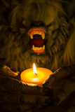 Werewolf head and the hands cradling a candle. Werewolf head and the hands cradling a burning candle close-up Royalty Free Stock Photos
