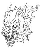 Werewolf head line art Stock Photo