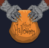 Werewolf Holding a Halloween Candy Basket, Vector Illustration Stock Images