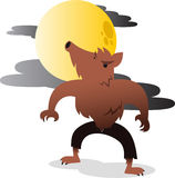 Werewolf howling at the moon illustration. Werewolf howling at the moon  cartoon illustration Stock Image