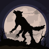 Werewolf Howling at the Moon in a Spooky Night Scene, Vector Illustration Royalty Free Stock Photo