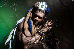 Werewolf with long nails among the branches of the tree and smok Royalty Free Stock Photos