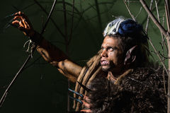 Werewolf with long nails and crooked teeth among the branches of Royalty Free Stock Image