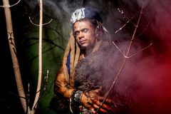 Werewolf with long nails and hair dreadlocks among the branches. Of the tree royalty free stock photography
