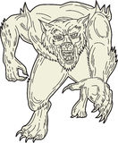 Werewolf Monster Running Mono Line Royalty Free Stock Image