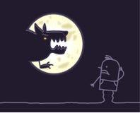 Werewolf & moon. Vector hand drawn cartoon characters Stock Image