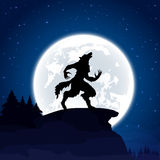 Werewolf on Moon background Stock Photos