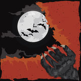 Werewolf Scratching a Crimson Old Paper, Vector Illustration Stock Image