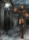 Werewolf in street. A werewolf walking in the night Royalty Free Stock Images