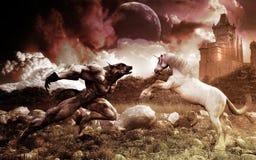 Werewolf und Einhorn Stockfoto