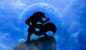 Werewolf. Werewolves on a full moon. Represents the power of the horrors Royalty Free Stock Photography