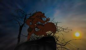 Werewolf. Wolf full moon night Reflect the horror Stock Photos