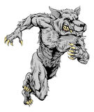 Werewolf wolf sports mascot running Royalty Free Stock Images