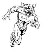 Werewolf wolf sports mascot running Stock Photo