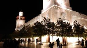 Werf van een moskee in het midden van de nacht Stock Foto