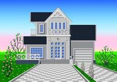 Werf van privé huis vector illustratie