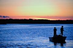 Werfen am Sonnenuntergang in Wisconsin Stockbild