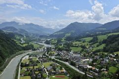Werfen Village at Salzach River Royalty Free Stock Images