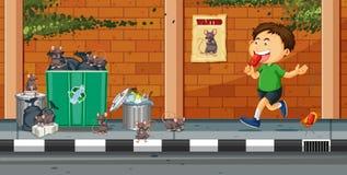Werfender Abfall des Jungen auf der Straße vektor abbildung
