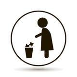 Werfender Abfall des Mannes in einem Korb lizenzfreie abbildung