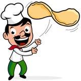 Werfender Pizzateig des Chefs Stockfotos