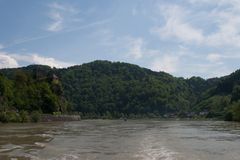 Werfenstein castel boven de Donau Stock Foto