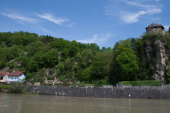 Werfenstein castel boven de Donau Stock Afbeelding