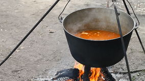 Werferlager, kochend auf einem Feuer stock video footage