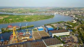 Werft auf der Donau stock video footage