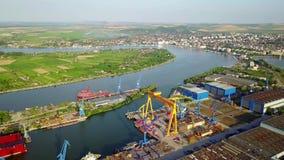 Werft auf der Donau stock video