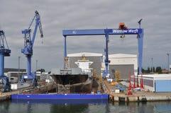 Werft in Rostock Stockfotos